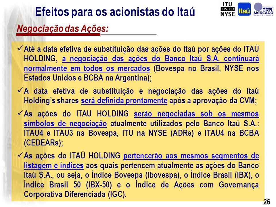 25 1.Anunciada ao mercado através de fato relevante distribuído em 5 de Novembro de 2002; Últimos Eventos e Situação Atual: 2.Aprovada pela Assembléia Geral Extraordinária de Acionistas de 21 de Novembro de 2002; 3.Aprovada pelo Banco Central do Brasil em 27 de Fevereiro de 2003; 4.Atualmente aguardando aprovação pela CVM – Comissão de Valores Mobiliários.