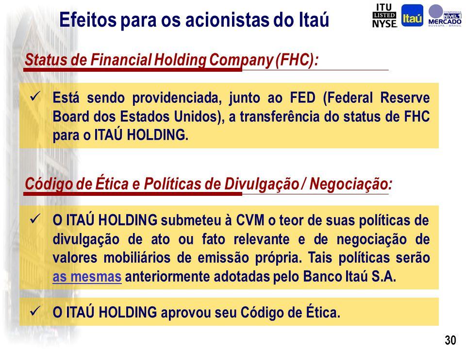 29 Administração e Governança Corporativa: O Conselho de Administração do ITAÚ HOLDING será integrado pelos mesmos membros que compunham o Conselho de Administração do Banco Itaú S.A.