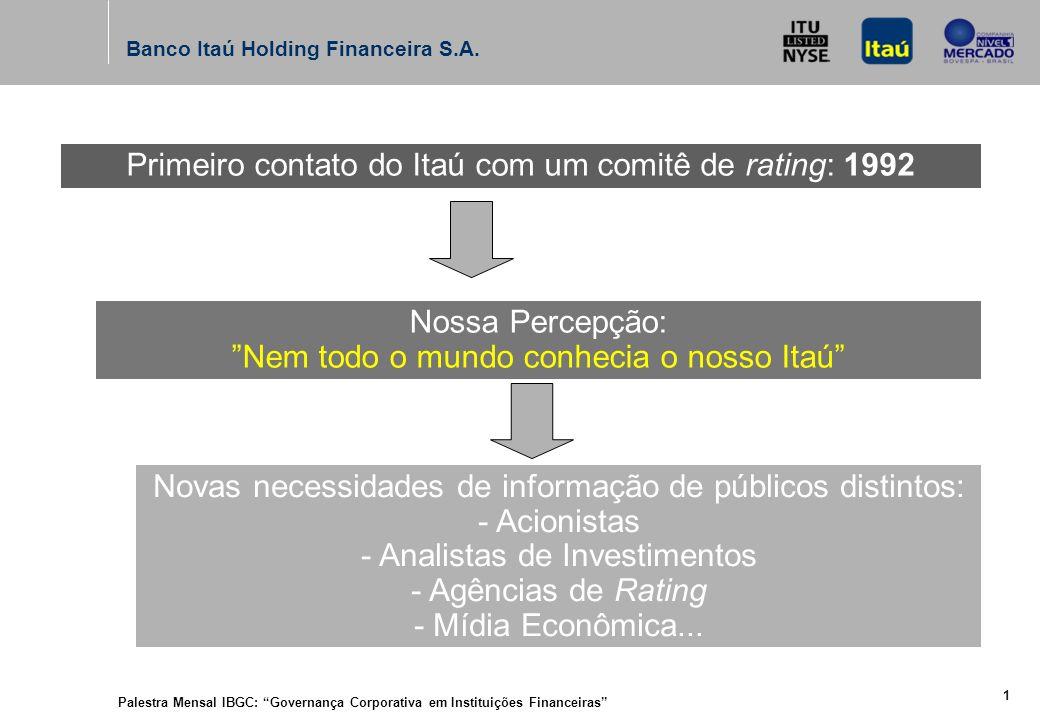 Palestra Mensal IBGC: Governança Corporativa em Instituições Financeiras 1 Banco Itaú Holding Financeira S.A.