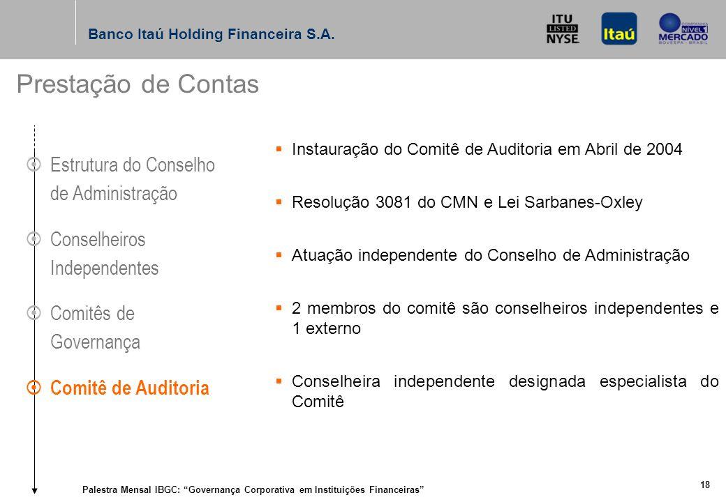 Palestra Mensal IBGC: Governança Corporativa em Instituições Financeiras 17 Banco Itaú Holding Financeira S.A.