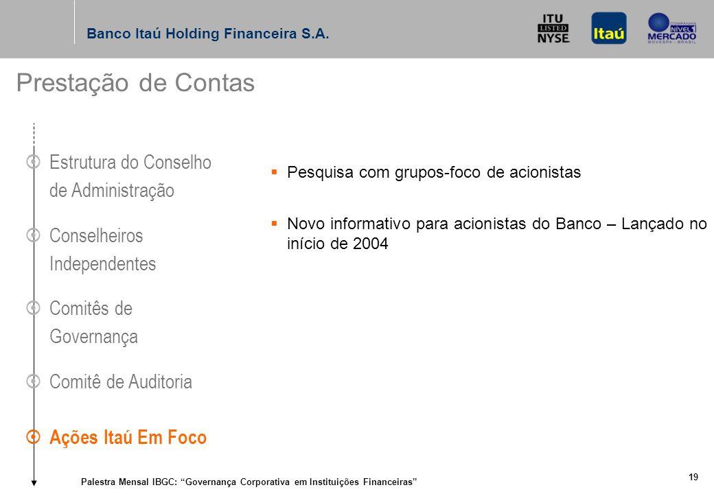 Palestra Mensal IBGC: Governança Corporativa em Instituições Financeiras 18 Banco Itaú Holding Financeira S.A.