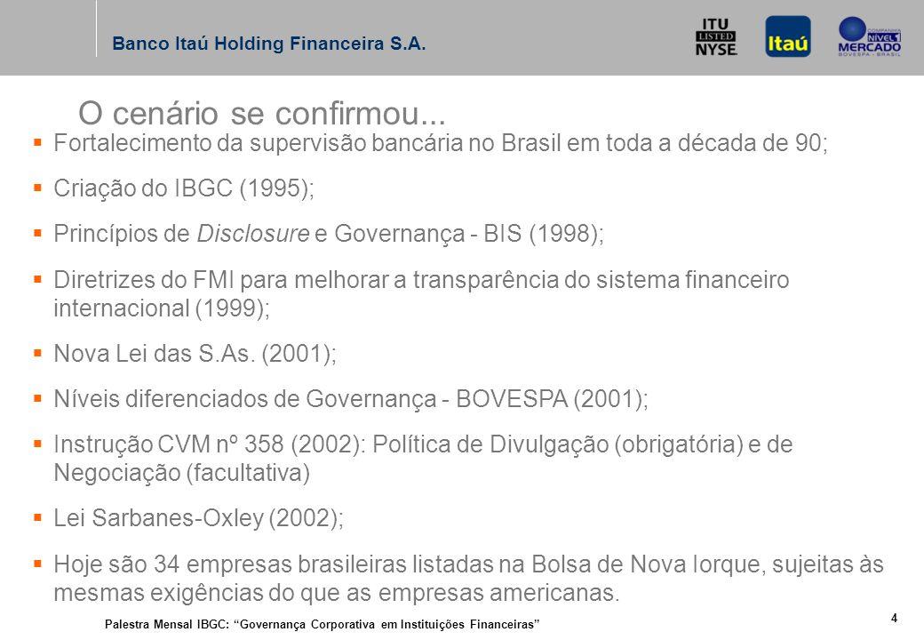 Palestra Mensal IBGC: Governança Corporativa em Instituições Financeiras 14 Banco Itaú Holding Financeira S.A.