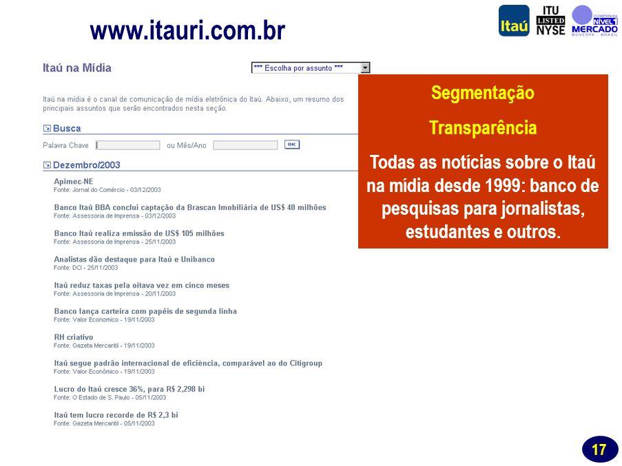 16 Website de RI www.itauri.com.br Segmentação Abrangência Informações trimestrais e histórico para investidores institucionais e analistas de mercado.