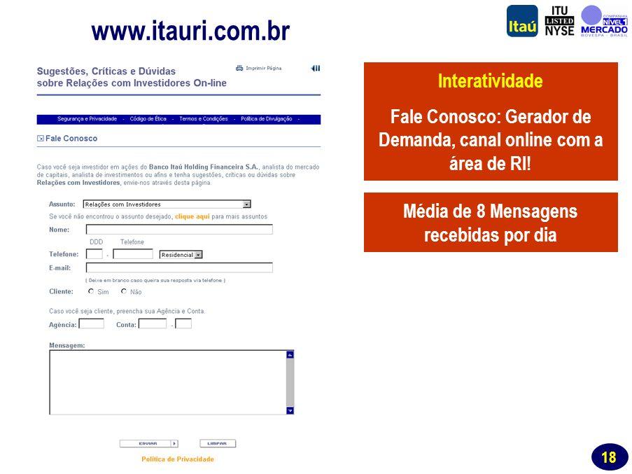 17 Website de RI www.itauri.com.br Segmentação Transparência Todas as notícias sobre o Itaú na mídia desde 1999: banco de pesquisas para jornalistas, estudantes e outros.