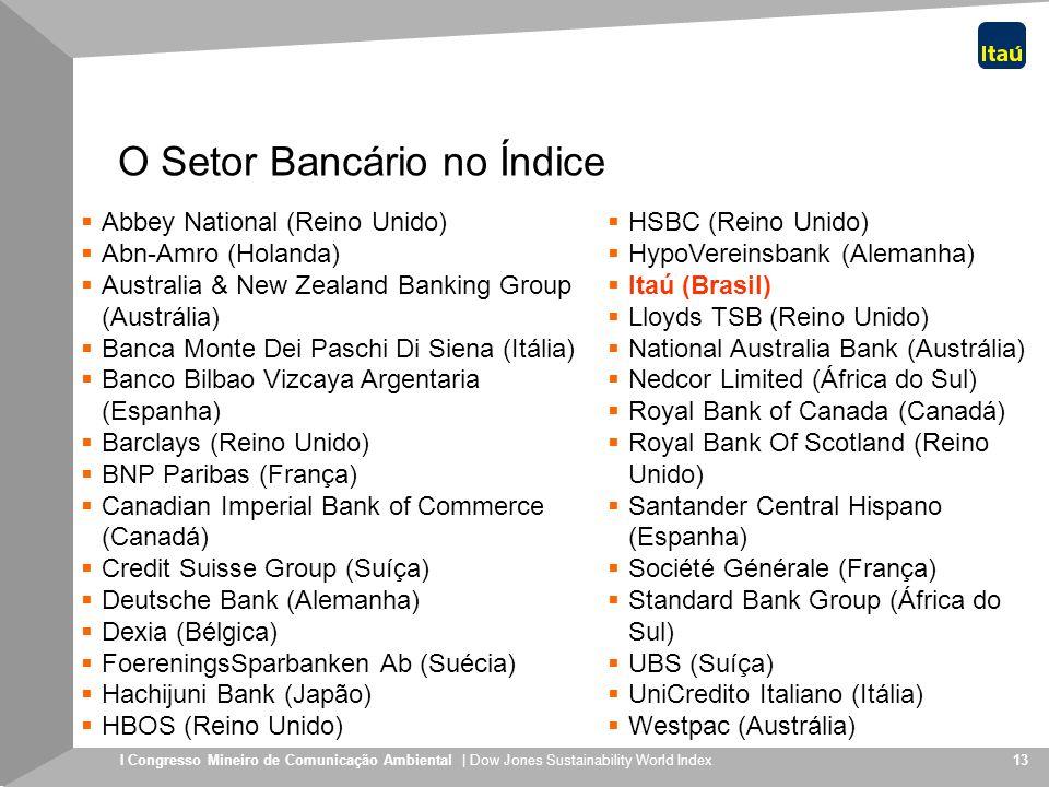I Congresso Mineiro de Comunicação Ambiental | Dow Jones Sustainability World Index 13 O Setor Bancário no Índice Abbey National (Reino Unido) Abn-Amr