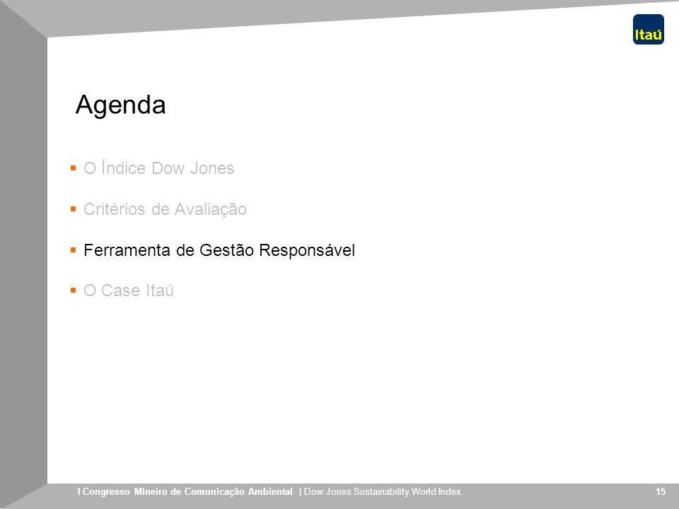 I Congresso Mineiro de Comunicação Ambiental | Dow Jones Sustainability World Index 15 Agenda O Índice Dow Jones Critérios de Avaliação Ferramenta de