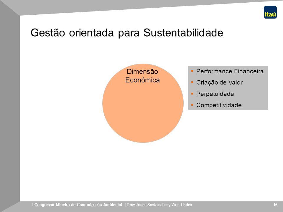 I Congresso Mineiro de Comunicação Ambiental | Dow Jones Sustainability World Index 16 Gestão orientada para Sustentabilidade Dimensão Econômica Perfo
