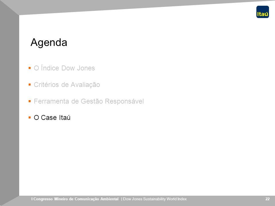 I Congresso Mineiro de Comunicação Ambiental | Dow Jones Sustainability World Index 22 Agenda O Índice Dow Jones Critérios de Avaliação Ferramenta de