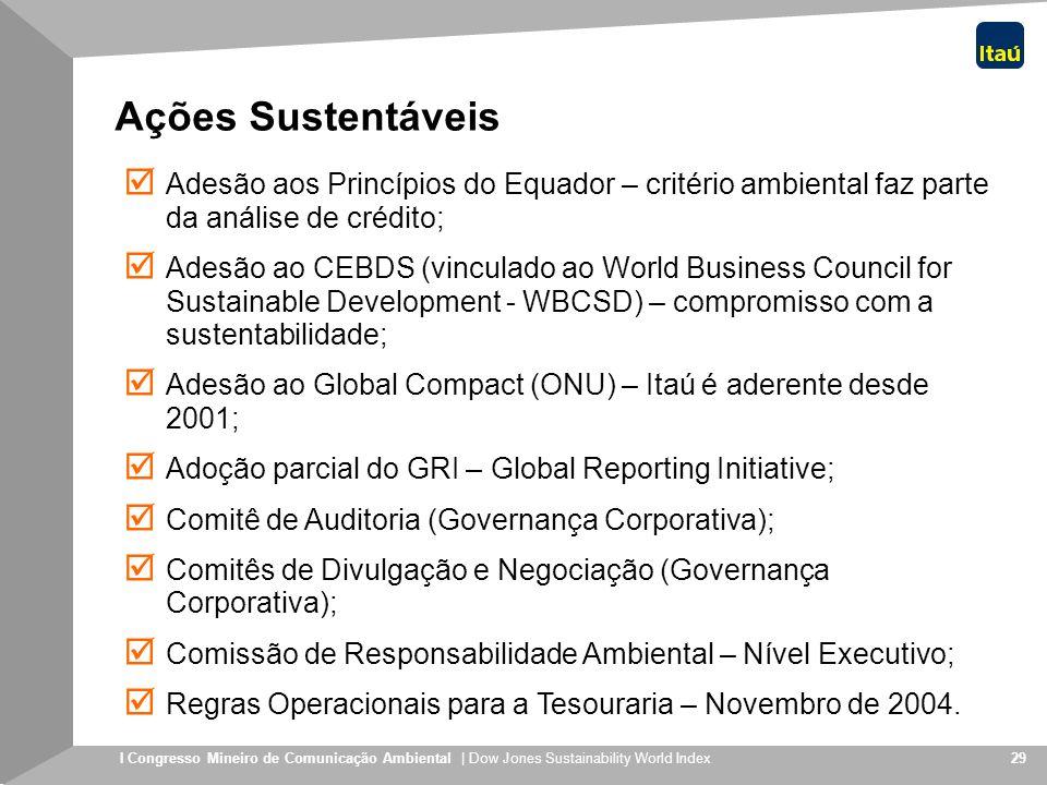 I Congresso Mineiro de Comunicação Ambiental | Dow Jones Sustainability World Index 29 Ações Sustentáveis Adesão aos Princípios do Equador – critério