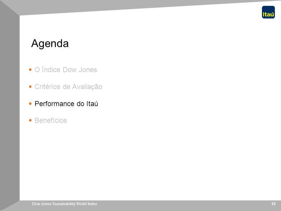 Dow Jones Sustainability World Index 12 Agenda O Índice Dow Jones Critérios de Avaliação Performance do Itaú Benefícios