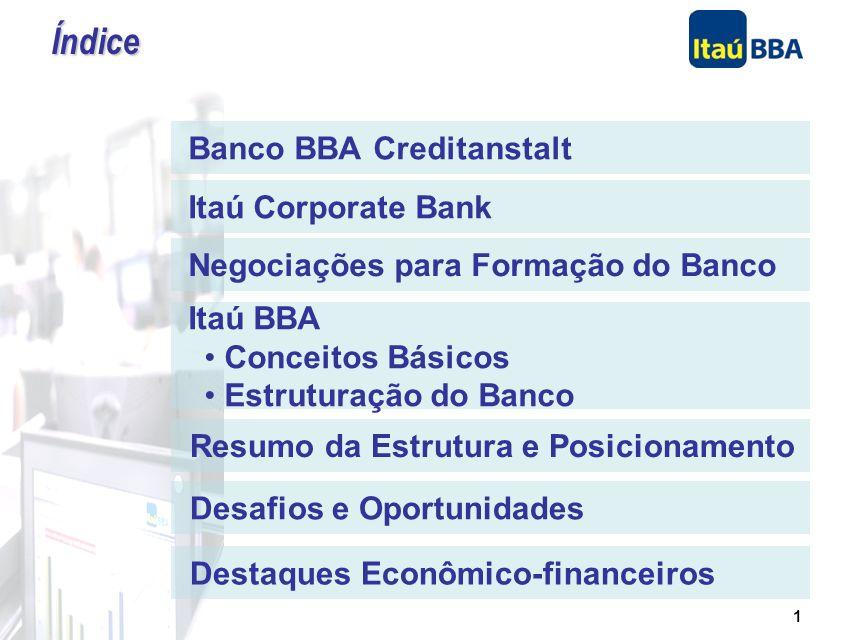 1 Banco BBA Creditanstalt Itaú Corporate Bank Negociações para Formação do Banco Itaú BBA Conceitos Básicos Estruturação do Banco Resumo da Estrutura e Posicionamento Desafios e Oportunidades Destaques Econômico-financeiros Índice