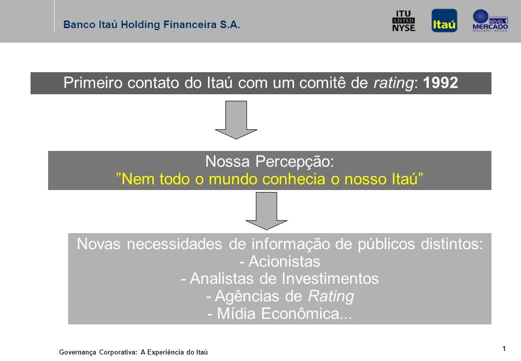 Governança Corporativa: A Experiência do Itaú 24 de Junho de 2004 Banco Itaú Holding Financeira S.A.