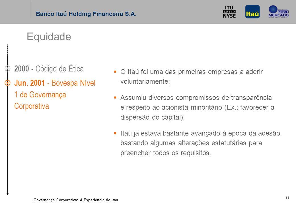 Governança Corporativa: A Experiência do Itaú 10 Banco Itaú Holding Financeira S.A.