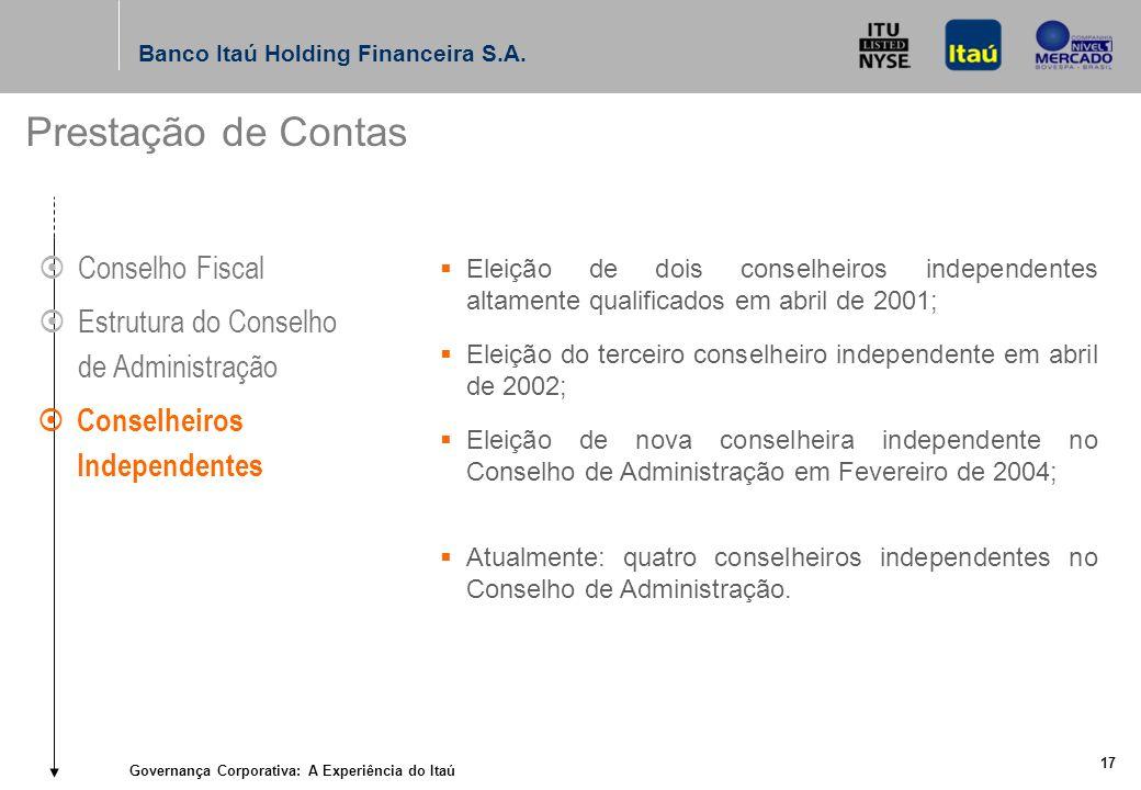 Governança Corporativa: A Experiência do Itaú 16 Banco Itaú Holding Financeira S.A.
