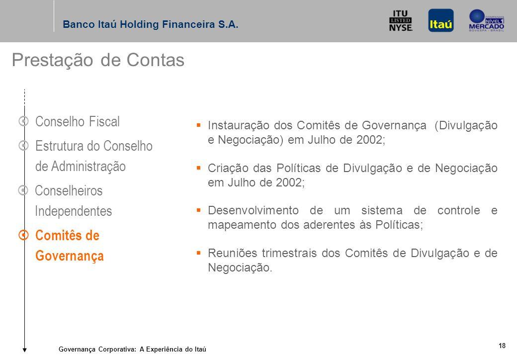 Governança Corporativa: A Experiência do Itaú 17 Banco Itaú Holding Financeira S.A.