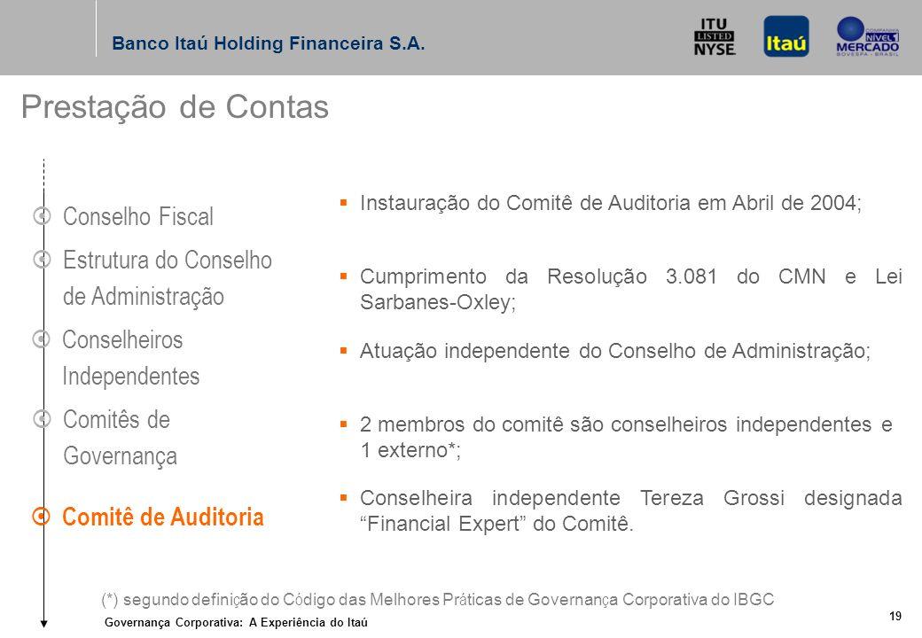 Governança Corporativa: A Experiência do Itaú 18 Banco Itaú Holding Financeira S.A.