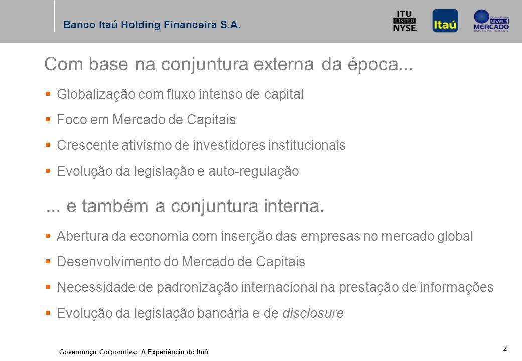 Governança Corporativa: A Experiência do Itaú 2 Banco Itaú Holding Financeira S.A.