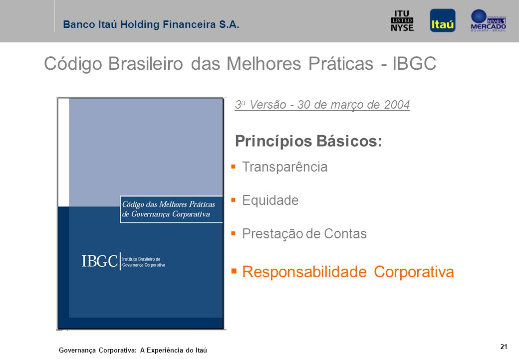 Governança Corporativa: A Experiência do Itaú 20 Banco Itaú Holding Financeira S.A.