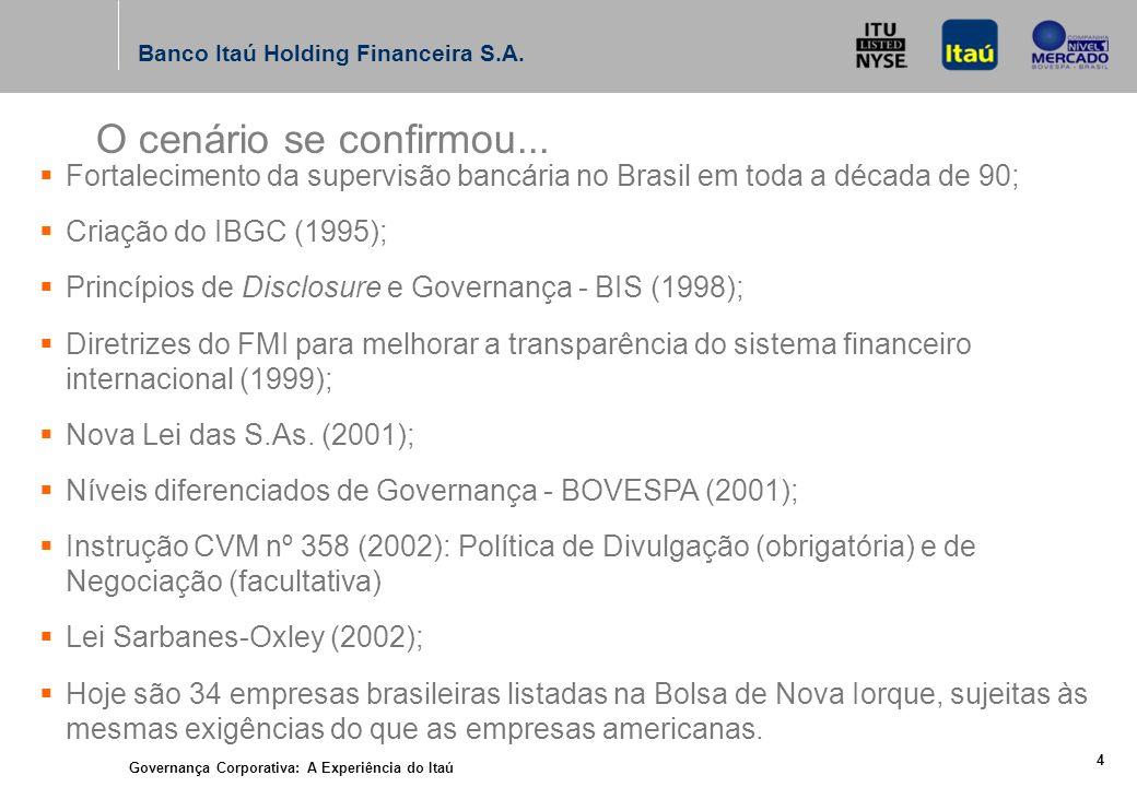 Governança Corporativa: A Experiência do Itaú 3 Banco Itaú Holding Financeira S.A.