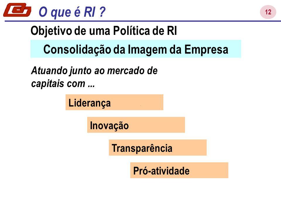 12 Consolidação da Imagem da Empresa Atuando junto ao mercado de capitais com... Liderança Inovação Transparência Pró-atividade Política de RI Objetiv