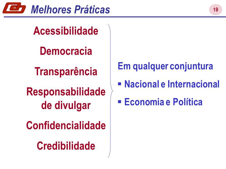 19 Acessibilidade Democracia Transparência Responsabilidade de divulgar Confidencialidade Credibilidade Melhores Práticas Em qualquer conjuntura Nacional e Internacional Economia e Política