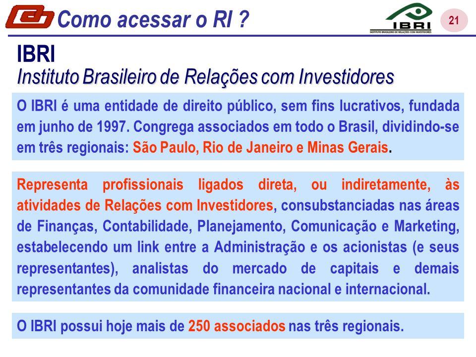 21 IBRI Instituto Brasileiro de Relações com Investidores O IBRI é uma entidade de direito público, sem fins lucrativos, fundada em junho de 1997.