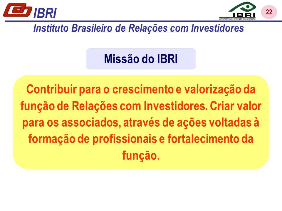 22 Contribuir para o crescimento e valorização da função de Relações com Investidores.