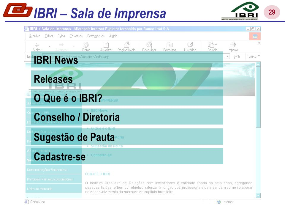 29 IBRI News Releases O Que é o IBRI? Conselho / Diretoria Sugestão de Pauta Cadastre-se IBRI – Sala de Imprensa
