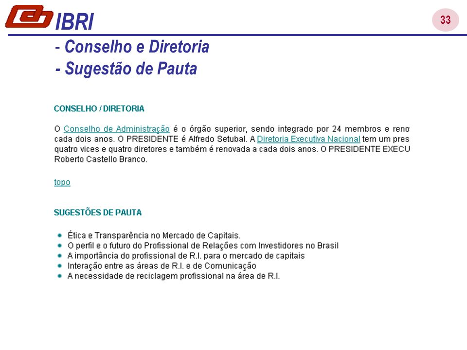 33 IBRI - Conselho e Diretoria - Sugestão de Pauta