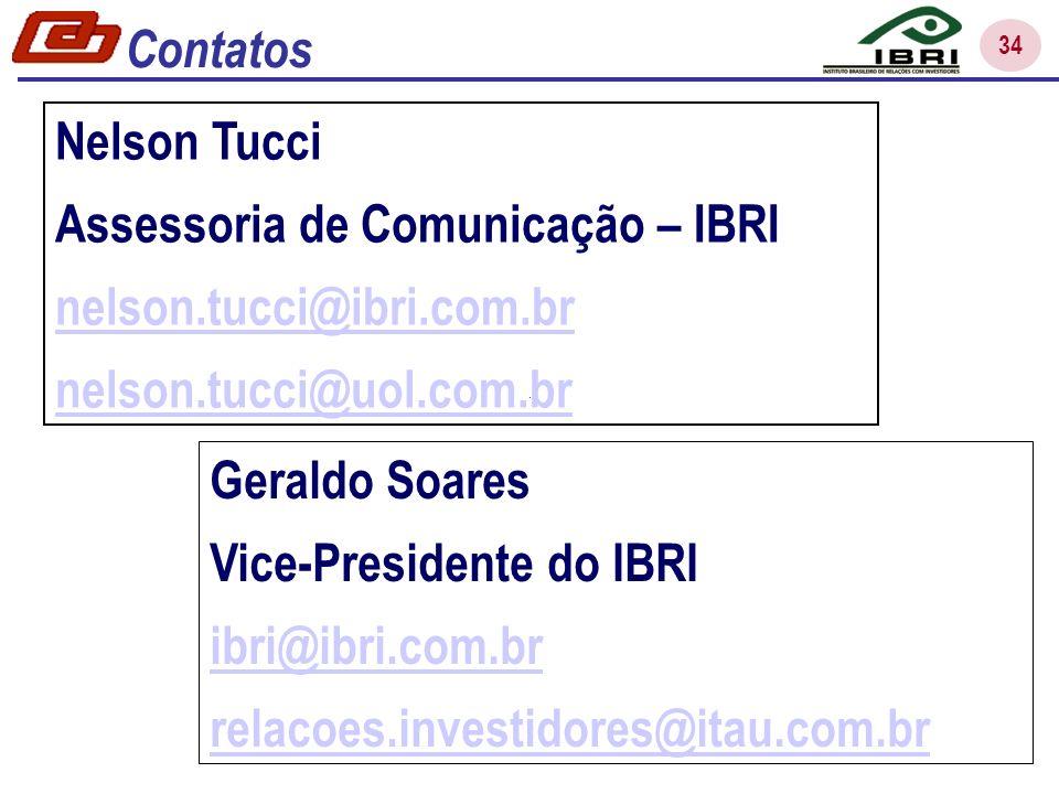 34 Nelson Tucci Assessoria de Comunicação – IBRI nelson.tucci@ibri.com.br nelson.tucci@uol.com.br Geraldo Soares Vice-Presidente do IBRI ibri@ibri.com.br relacoes.investidores@itau.com.br Contatos
