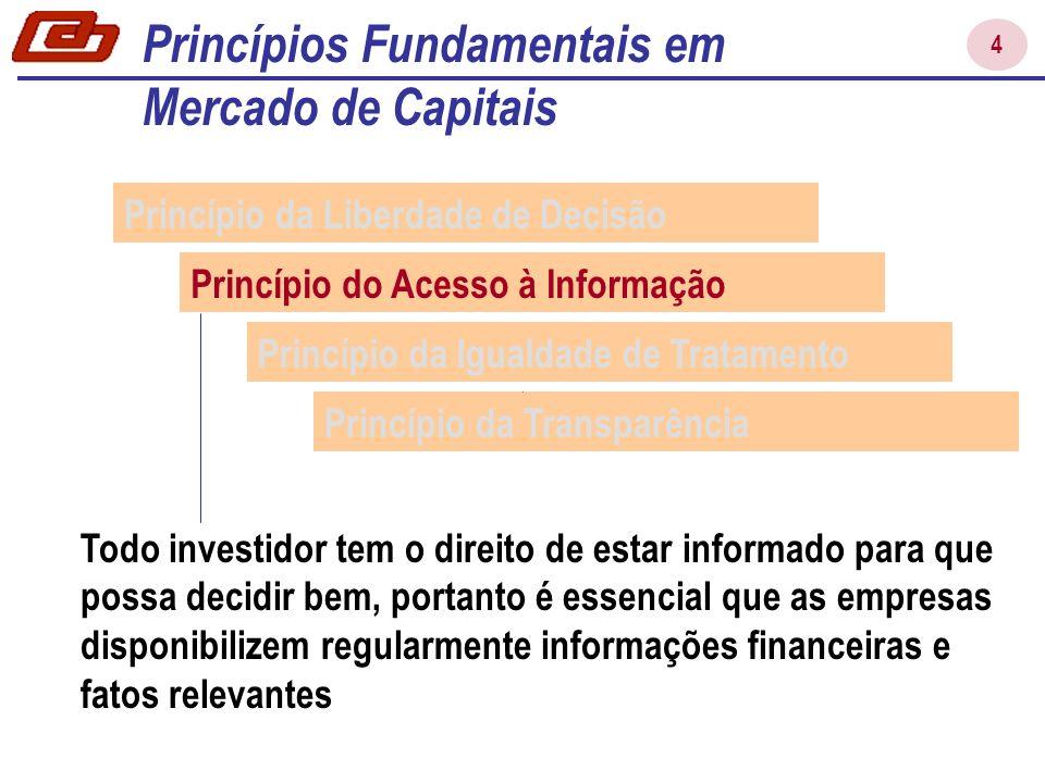 4 Princípio da Liberdade de Decisão Princípio do Acesso à Informação Princípio da Igualdade de Tratamento Princípio da Transparência Todo investidor t
