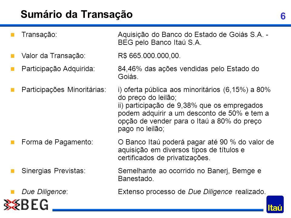 6 Sumário da Transação Transação:Aquisição do Banco do Estado de Goiás S.A. - BEG pelo Banco Itaú S.A. Valor da Transação:R$ 665.000.000,00. Participa