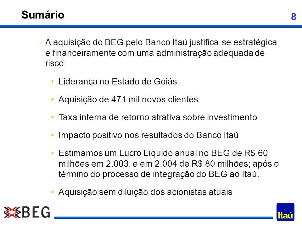 8 Sumário –A aquisição do BEG pelo Banco Itaú justifica-se estratégica e financeiramente com uma administração adequada de risco: Liderança no Estado