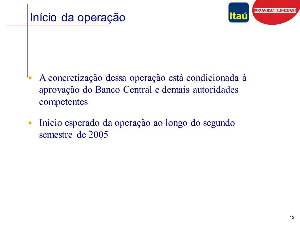 15 Início da operação A concretização dessa operação está condicionada à aprovação do Banco Central e demais autoridades competentes Início esperado da operação ao longo do segundo semestre de 2005