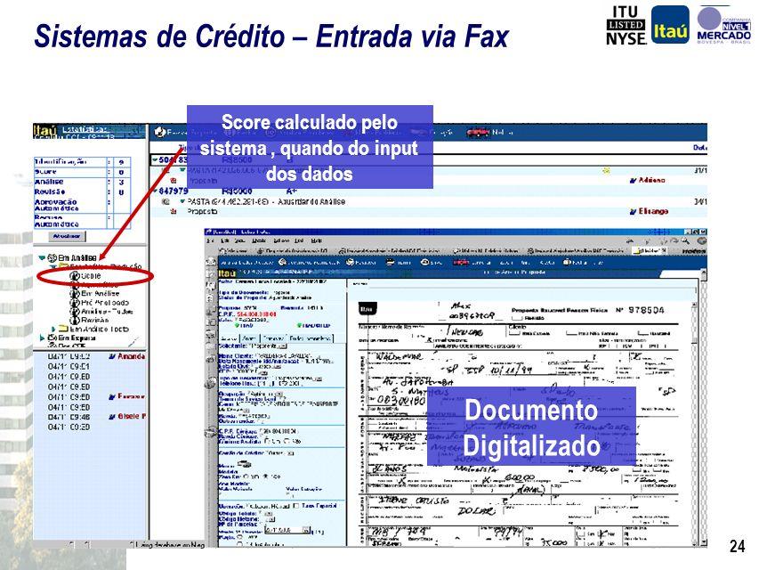 23 Score de crédito Existem 5 modelos regionalizados,para veículos novos e usados O sistema compara a proposta com a política de crédito e indica as e