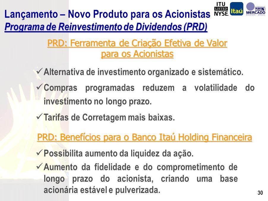 29 1)Reinvestimento automático 2)Adesão opcional aos acionistas 3)Escolha do valor a reinvestir 4)Sem limite máximo para aquisição Lançamento – Novo Produto para os Acionistas Programa de Reinvestimento de Dividendos (PRD) Criação de Valor e Compromisso com o Mercado de Capitais.
