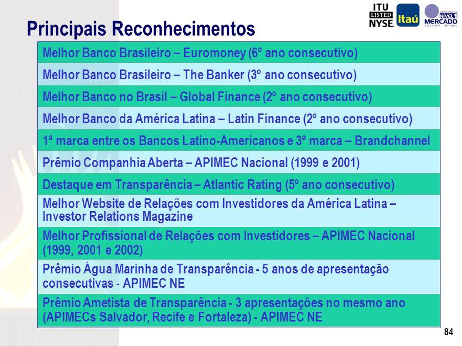 83 Foco em Governança Corporativa Abr-00 – Criação do Site de RI Mai-01 – Reunião APIMEC com 10h de duração Jun-01 – Adesão ao Nível 1 da Bovespa Jul-02 – Comitês de Divulgação e Negociação 2002 – 11 reuniões APIMEC (inédito no Brasil) Set-03 – Melhoria Qualitativa das Dem.