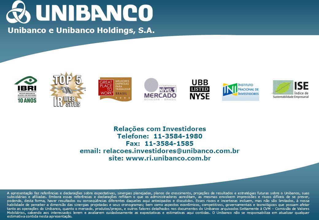 Relações com Investidores | 36 Unibanco e Unibanco Holdings, S.A. Relações com Investidores Telefone: 11-3584-1980 Fax: 11-3584-1585 email: relacoes.i