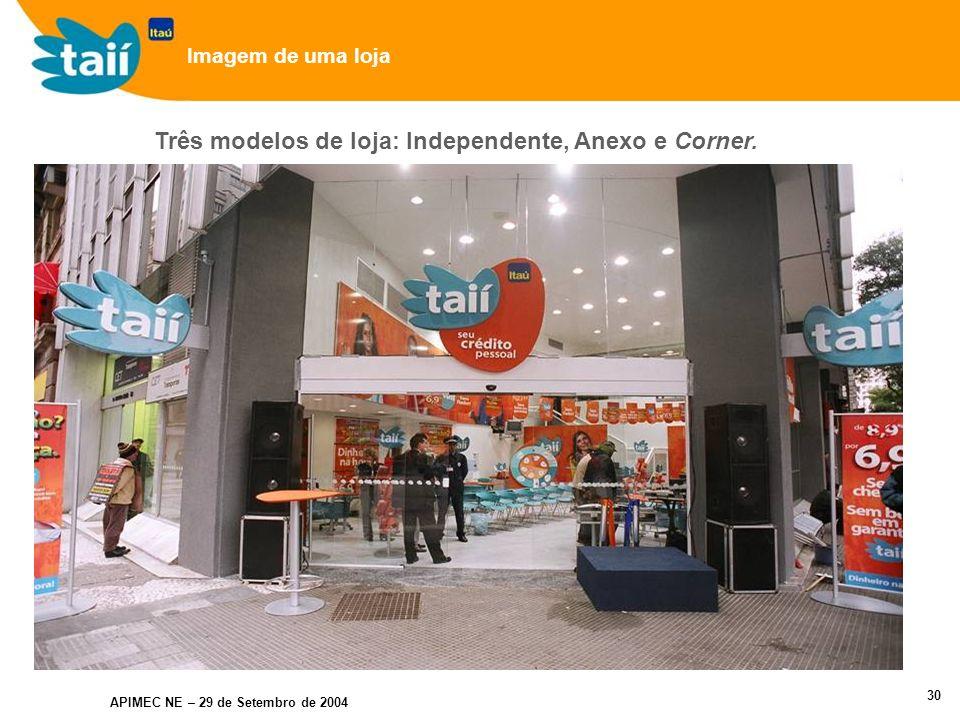 APIMEC NE – 29 de Setembro de 2004 29 Nova Marca (relacionada ao Itaú) Foco nos consumidores de baixa renda (não correntistas do Itaú) Plataforma própria Destaques