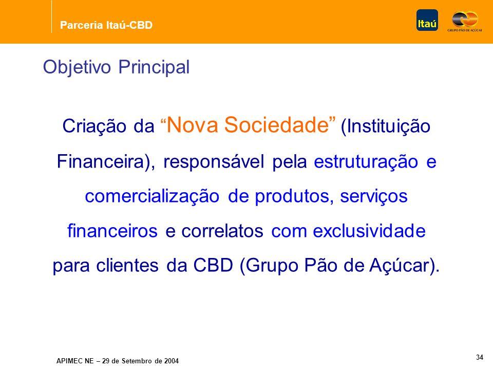 Parceria Itaú-CBD APIMEC NE – 29 de Setembro de 2004 COMPANHIA BRASILEIRA DE DISTRIBUIÇÃO Banco Itaú Holding Financeira S.A.