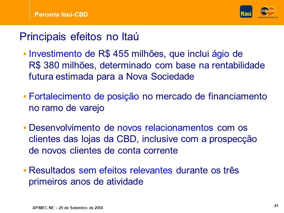 Parceria Itaú-CBD APIMEC NE – 29 de Setembro de 2004 40 Estratégia da Operação Ampliação do foco no crédito direto ao consumidor Parceria de longo prazo: 20 anos, com opção de prorrogação Exclusividade na exploração de produtos e serviços financeiros para os clientes da CBD Forte parceria = maior relacionamento comercial
