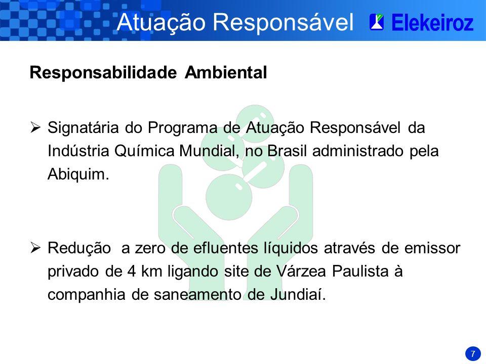 7 Atuação Responsável Responsabilidade Ambiental Signatária do Programa de Atuação Responsável da Indústria Química Mundial, no Brasil administrado pela Abiquim.