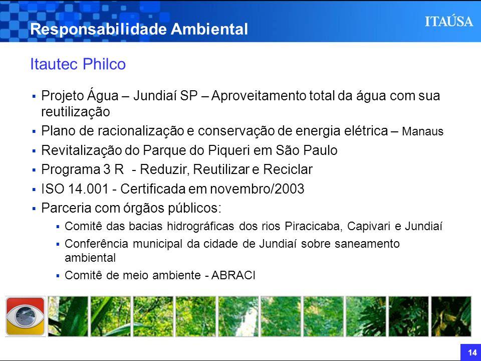 14 Responsabilidade Ambiental Itautec Philco Projeto Água – Jundiaí SP – Aproveitamento total da água com sua reutilização Plano de racionalização e c