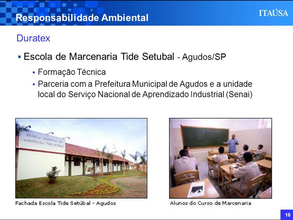 16 Responsabilidade Ambiental Duratex Escola de Marcenaria Tide Setubal - Agudos/SP Formação Técnica Parceria com a Prefeitura Municipal de Agudos e a