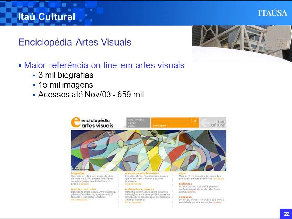 22 Itaú Cultural Enciclopédia Artes Visuais Maior referência on-line em artes visuais 3 mil biografias 15 mil imagens Acessos até Nov/03 - 659 mil
