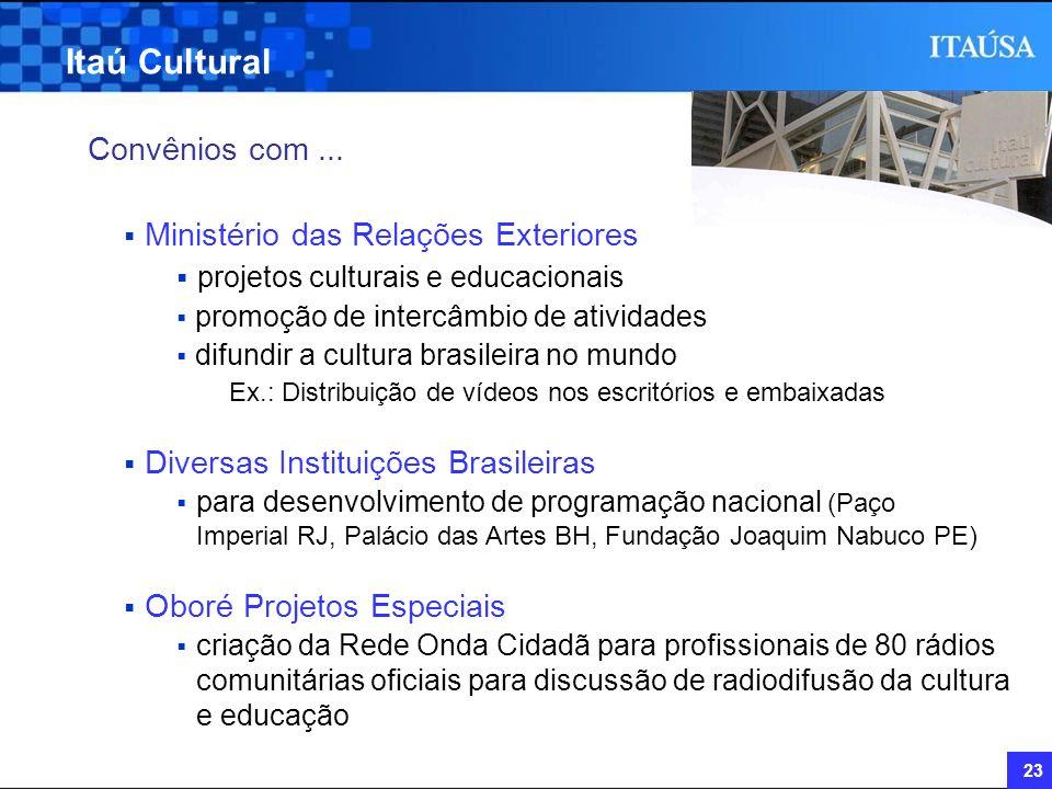 23 Itaú Cultural Convênios com... Ministério das Relações Exteriores projetos culturais e educacionais promoção de intercâmbio de atividades difundir