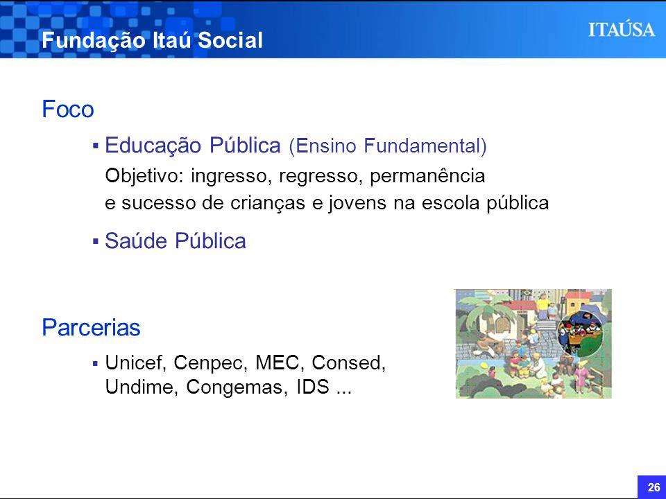 26 Fundação Itaú Social Foco Educação Pública (Ensino Fundamental) Objetivo: ingresso, regresso, permanência e sucesso de crianças e jovens na escola