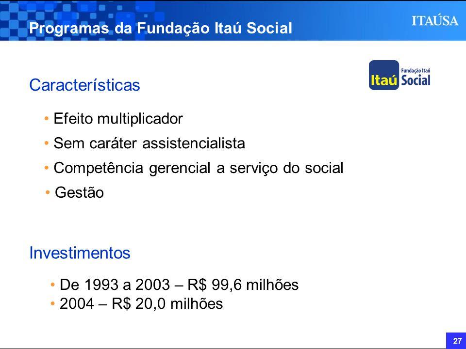 27 Programas da Fundação Itaú Social Características Efeito multiplicador Sem caráter assistencialista Competência gerencial a serviço do social Gestã