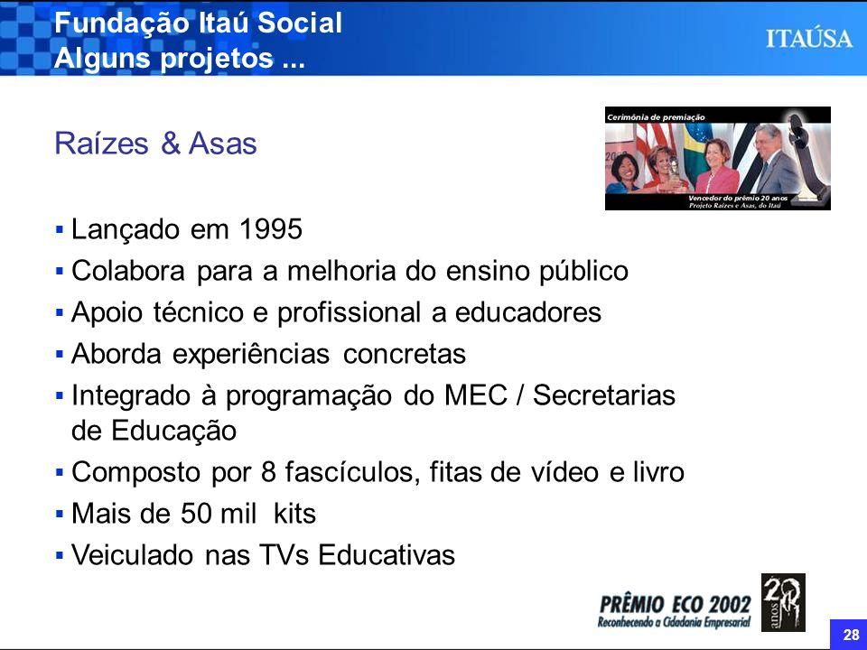 28 Fundação Itaú Social Alguns projetos... Raízes & Asas Lançado em 1995 Colabora para a melhoria do ensino público Apoio técnico e profissional a edu