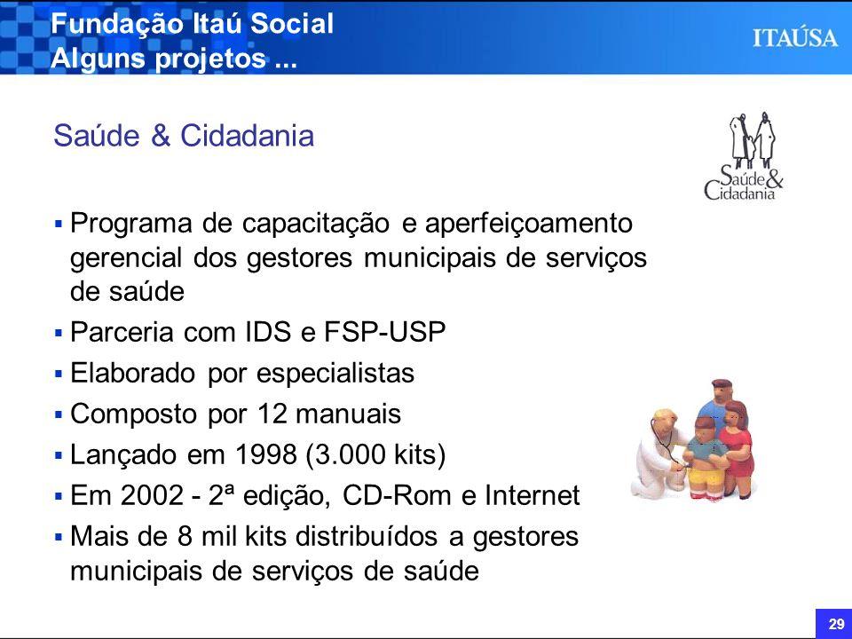 29 Fundação Itaú Social Alguns projetos... Saúde & Cidadania Programa de capacitação e aperfeiçoamento gerencial dos gestores municipais de serviços d
